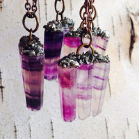 Purple Fluorite Stone Necklace