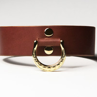 Leather Bondage Collar - Chestnut Brown Latigo - Spotted Brass Lead Ring -  Brass Fasteners