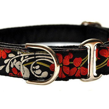 Red Floral Jacquard Martingale Collar - 1 Inch
