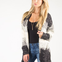 Soft Open Knit Striped Cardigan - Black/White /