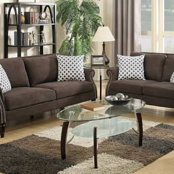 2 pc Patricia collection dark brown velveteen fabric upholstered sofa and love seat set with nail head trim