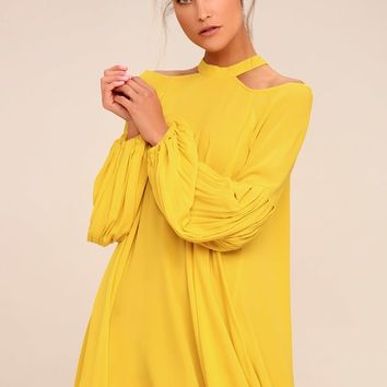 Free People Drift Away Yellow Cold Shoulder Tunic Top