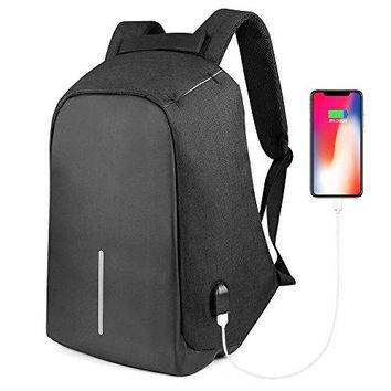 Anti Theft Laptop Backpack,ONSON Collage Backpack with USB Charging Port,Water Resistant Backpack for Men&Women,Fits 15.6 Inch and below Laptop/Notebook(Black)