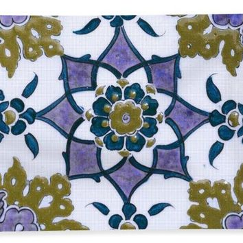 An Ottoman Iznik Style Floral Design Pottery Polychrome, By Adam Asar, No 13f - Bath Towel