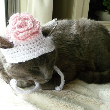 Flower Cat Hat Costume Cats and Small Dogs Pretty Kitty Spring Cat Hat Cat Clothes Cat Clothing Pets Rose Hat Cat Apparel Small Dog Bonnet