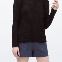 Black V-Backless Knit Sweater