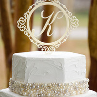 "5"" Single Custom Design Ornate Monogram Initial Wedding Cake Topper"