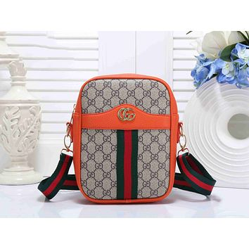 Gucci Popular Women Leather Red Green Stripe Shoulder Bag Crossbody Satchel Handbag(6-Color) Orange I-KSPJ-BBDL