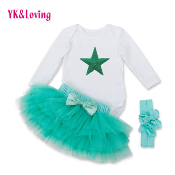 Baby Girls Pettiskirt Set Yarn Ruffle Lots of Layers Ball Gown Green Skirt and Black Bodysusit 0-2Years Newborn Girl Skirt 2016