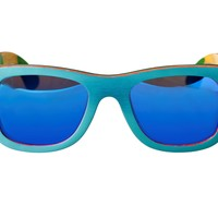 $49.95 Earth Wood ESG012BM Malibu Collection Polarized Blue Painted Wood Sunglasses