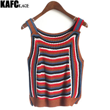 KAFAKACE Korean Style Slim Tops 2016 New Autumn Women Bodycon Short Sweater Female Vest knitted Striped Crop Top