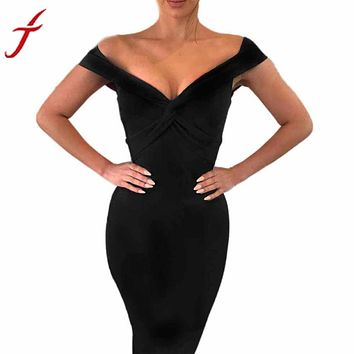 FEITONG Off Shoulder Backless Dress Women Lady Winter Bandage Bodycon Sleeveless Evening Party Mini Dress vestido de festa