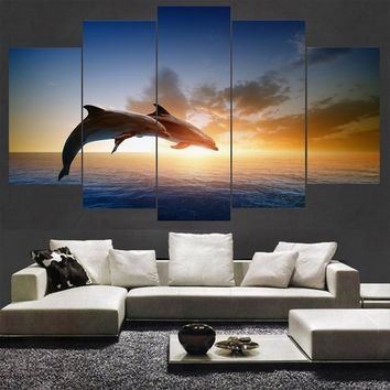 HD Printed Modular Pictures Frame Canvas Home Wall Art Decor 5 Pieces Jumping Dolphins Animal Painting Sunset Seascape Poster