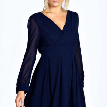 Miriam Long Sleeve V Front Chiffon Wrap Dress