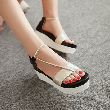 Patent Leather Wedges Sandals Women Platform Shoes 9153