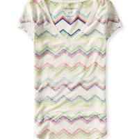 Aeropostale Womens Zigzag Stripe V-Neck T-Shirt - Beige, X-Small