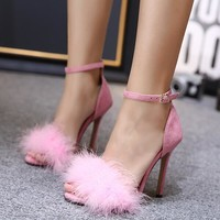 Vogue Fur High Heeled Shoes
