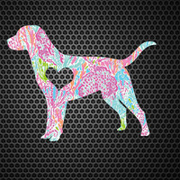 Lilly Pulitzer Labrador Heart Decal | Labrador Decal | Labrador Dog Mom Decal | Dog Dad Decal | Dog Family Decal | Love Sticker | 203