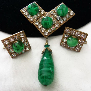 Miriam Haskell Vintage Green Glass Bead Geometric Brooch Rhinestone Drop Pin Earrings Set
