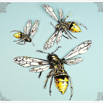 Swarm Paper Dolls handmade by the Filigree - Black Yellow Bee