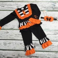 Girls 3pc. Halloween Set, Baby Girls Clothing, 1st Halloween, Black & Orange Halloween, Girls Halloween Headband, Halloween Outfit for girls