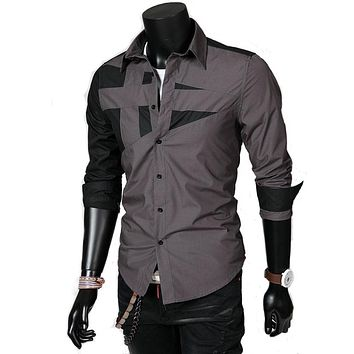 New Brand Men's Long-Sleeved Shirt Personalized Stitching High-Quality Men's Casual Shirt Lapel Male Shirts