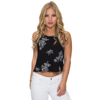 Distant Floral Embroidered Tank
