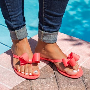 Bow Coral Jelly Flip Flop Sandals