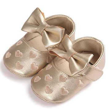 LMFIW1 Baby Girl Bowknot Heart Leather Shoes Anti-slip Soft Sole