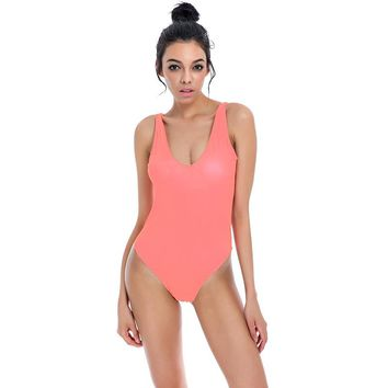 One Piece Swimwear Women Backless Bodysuit  Sexy High Cut Swimsuit Bathing Suit Swim Beachwear Monokini Swimsuit Black