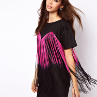 ASOS Tee Dress With Fringing