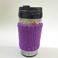 Coffee cozies, coffee cup sleeve, knit coffee cozy, knitted coffee cozy, coffee accessories, purple coffee mug, coffee sleeve, coffee cozy