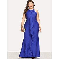 Plus Ruffle Embellished Fitted Halter Dress