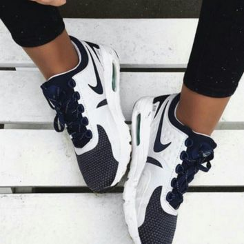 NIKE Women Men Casual Running Sport Shoes Sneakers Navy blue-White