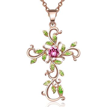 "Angelady""God We Trust""Cross Pendant Necklace for Women Gifts,Pink Crystal from Swarovski"