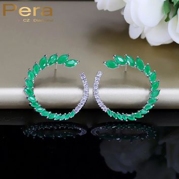 Pera Classic Ear CC Brand Green Stone Pave Setting Fashion Women Party Sterling Silver 925 Big Stud Cubic Zirconia Earrings E279