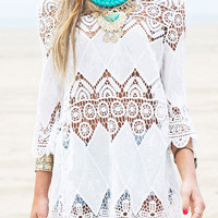 White Semi-Sheer Lace Scallop Hem Beach Cover-Up