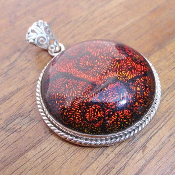 Dichroic glass pendant. 925 sterling silver red glass pendant.colorful pendant.Red Glass pendant with Designer lock. Dichroic glass necklace