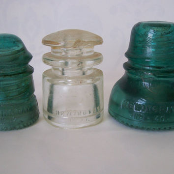 Trio of Hemingray Glass Insulators by me on Etsy  $15.00