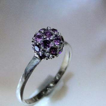 Sterling Ring Purple Rhinestones Crystal Ball Ring Violet Glass 925 Ring Size  6.5 Gift Idea