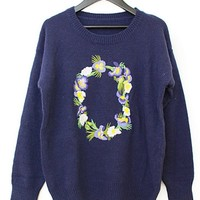 Floral Embroidered Sweater - OASAP.com