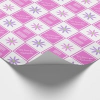 Pretty Personalized Daisy Checked Wrapping Paper 2