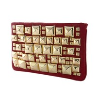 Andreya - Red Stylish Jumbo Pyramid Studded Clutch with Solid Red Back