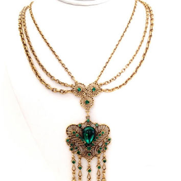 Emerald Green Art Glass and Rhinestone Necklace, Swagged Style Necklace, Festoon Chains, 1960s