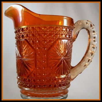 Imperial Carnival Glass Marigold Star Medallion Milk Pitcher