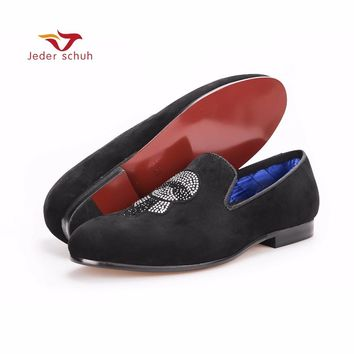 men shoes Handmade Men Velvet shoes smoking slippers with Lagerfeld Rhinestones Fashion Party and Prom Fashion Men Loafers