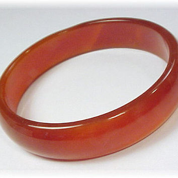Carnelian ~ Wide Red Carnelian Gemstone Bangle Bracelet - Carved Rounded Edge