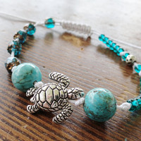 Emerald Green Turtle Bracelet Anklet Adjustable with Turquoise Gemstones