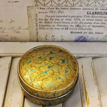 Vintage Marinello Girl Powder Cream Tin Floral Box, Rare and Lovely Cosmetic Container, Over 50 Years Old, Beauty Bath Advertising Tin