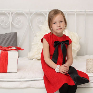 Girls dress Girls A line dress Toddler girl Christmas dress Girls clothes Girl tunic dress Girls red jacquard pleat dress with cap sleeves